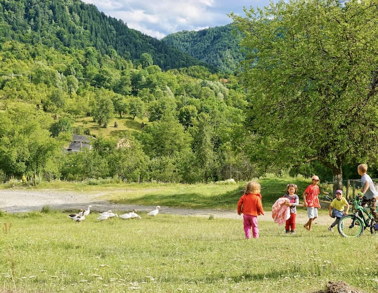 Children playing in the countryside Romania