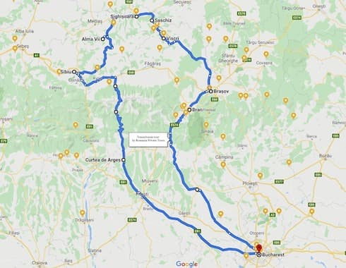 Transylvania itinerary map