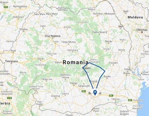 Itinerary map Romania